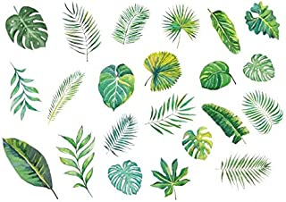 Set of 2 Waterproof Temporary Fake Tattoo Stickers Watercolor Green Blue Yellow Leaf
