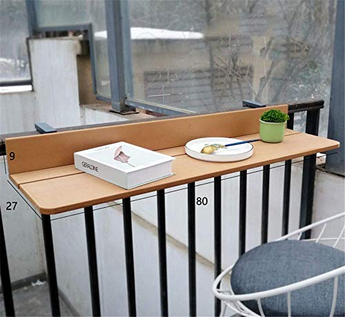Balcón colgante Mesa plegable - 1.5cm Imitación Madera - Mesa de cubierta plegable balcón Ajustable Escritorio para portátiles, Bar Patio barandilla Mesa plegable Patio Jardín,Beige,27 * 80cm