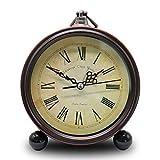 TOKINCEN Despertador Retro para Sala de Estar Mesa Escritorio Dormitorio Vintage Clásico Sin tictac Pasado de Moda Reloj de 5 Pulgadas Funciona con Pilas para durmientes Pesados