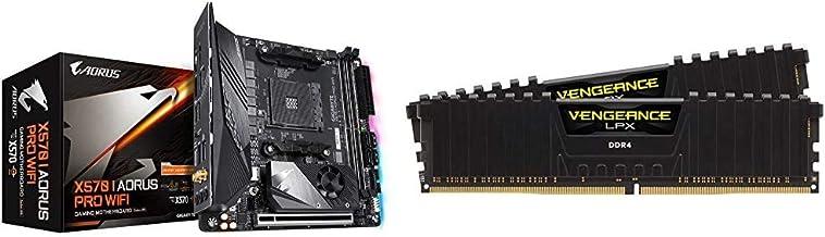 GIGABYTE X570 I AORUS Pro Wi-Fi & Corsair Vengeance LPX 16GB (2x8GB) DDR4 DRAM 3200MHz C16 Desktop Memory Kit - Black