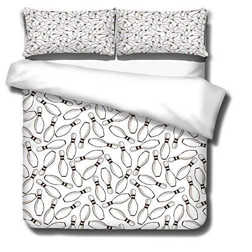 Bettwäsche 135X200 Weiße Bowlingkugel Bettwäsche Set 3 Teilig Bettbezüge Mikrofaser Bettbezug mit Reißverschluss und 2 Kissenbezug 80X80Cm , Weich Bettbezug
