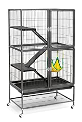 "Spacious cage provides room for even the most energetic ferret Includes 2 Plastic Platforms, 3 Plastic Ramps, 1 Hammock and Grille Escape-proof large hinged doors Overall Size: 31"" L x 20"" W x 54"" H (on stand) with 7/8-inch wire spacing 