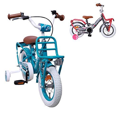 AMIGO Bloom - Kinderfiets - 12 inch - Meisjes - Met zijwieltjes en terugtraprem - Vanaf 3 jaar - Turquoise