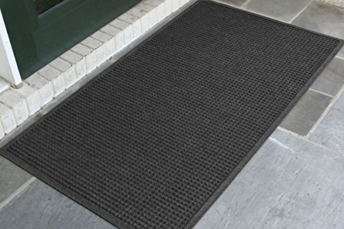 WaterHog Fashion Commercial-Grade Entrance Mat, Indoor/Outdoor Charcoal Floor Mat 5' Length x 3' Width, Charcoal by M+A Matting - 280-154-5F3F