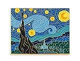 Pinsanity Van Gogh Starry Night Painting Enamel Lapel Pin,Multi,1.75 inch