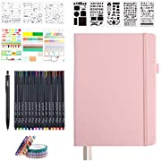 Dotted Journal Set, 224 Numbered Pages Faux Leather A5 Grid Hard Cover Pink Notebook Planner with Index Inner Pocket, Abundant Accessories for Beginners Diary Schedule by Feela