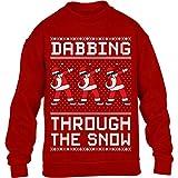 Shirtgeil Dabbing Through The Snow - Regalo per Natale Maglione per Bambini e Ragazzi 9-11 Anni Rosso