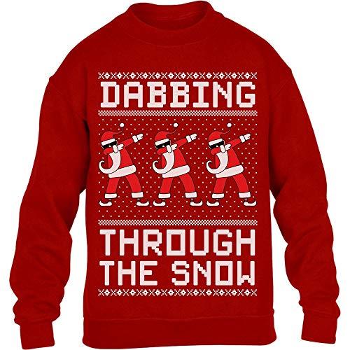 Shirtgeil Dabbing Through The Snow - Regalo per Natale Maglione per Bambini e Ragazzi 12-14 Anni (152-164cm) Rosso