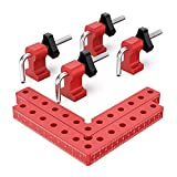 Willstar 90 Degree Positioning Squares Right Angle Clamps, Aluminum Alloy L-Type Corner Clamp Woodworking Carpenter Clamping Tool for Picture Frame Box Cabinets Drawers 2 Squares(5.5') +4 Set Clamps