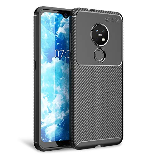 NALIA Carbon Erscheinungsbild Handyhülle kompatibel mit Nokia 6.2/7.2 Hülle, Ultra-Slim TPU Silikon Smartphone Backcover Dünne Schutzhülle, Phone Soft Cover Hülle Handy-Tasche Etui Bumper - Schwarz
