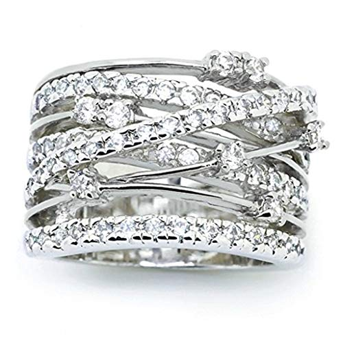 WEILYDF Wedding Ring Gorgeous Charming Women Dazzling Fine Crystal Ring Bohemian Beautiful Hollow Romantic Engagement Ring