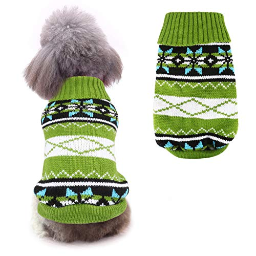 Idepet Pet Cat Dog Maglione, Cappotto Invernale per Cani Giacca Gilet Caldo Pet Maglione Maglione Vestiti per Gattini Cuccioli Gatti e Cani (XL, Verde)
