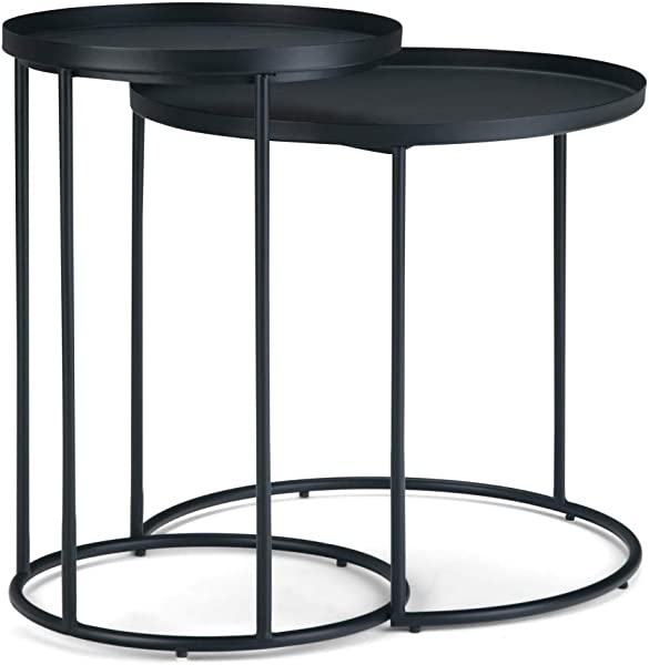 Simpli Home AXCMNT 06 Monet Modern Industrial 24 Inch Wide Metal 2 Pc Nesting Table In Black Fully Assembled