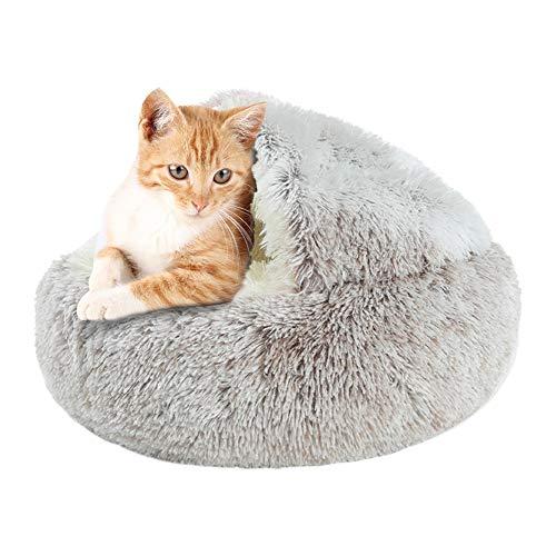 KANUBI Cama redonda y suave para mascotas, nido largo de felpa, portátil, cómodo para dormir