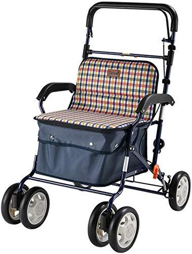 YGB Opvouwbare Winkelwagen Oude Man Trolley Opvouwbare Rolstoel Draagbare Walker Thuis Winkelwagen Met Stoel Gift Kan Beer 100 Kg