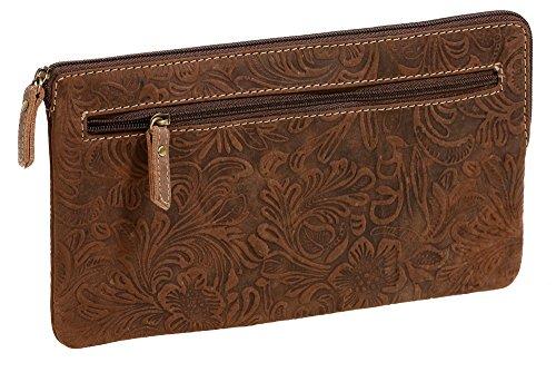 LEAS Banktasche & Geldtasche mit Floral-Druck Echt-Leder, braun Special-Edition