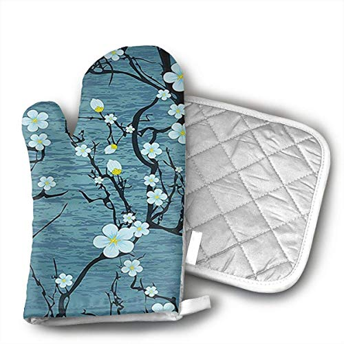 Sakura Tree Branches Japanese Cherry Blossom Style Oven Mitts,Heat Resistant Oven Gloves,Non-Slip Cooking Gloves,Washable Kitchen Mitts for Baking, Barbecue.