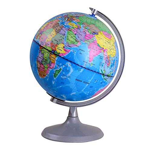 8 inch Illuminated Globe, Stand-Educational Geographic Globe, Built in LED Night Light with World Locations and Constellation View