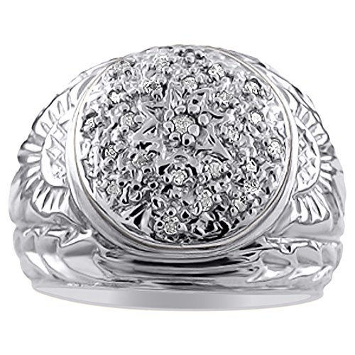 Para hombre Diamond Cluster anillo plata de ley o chapado en oro amarillo