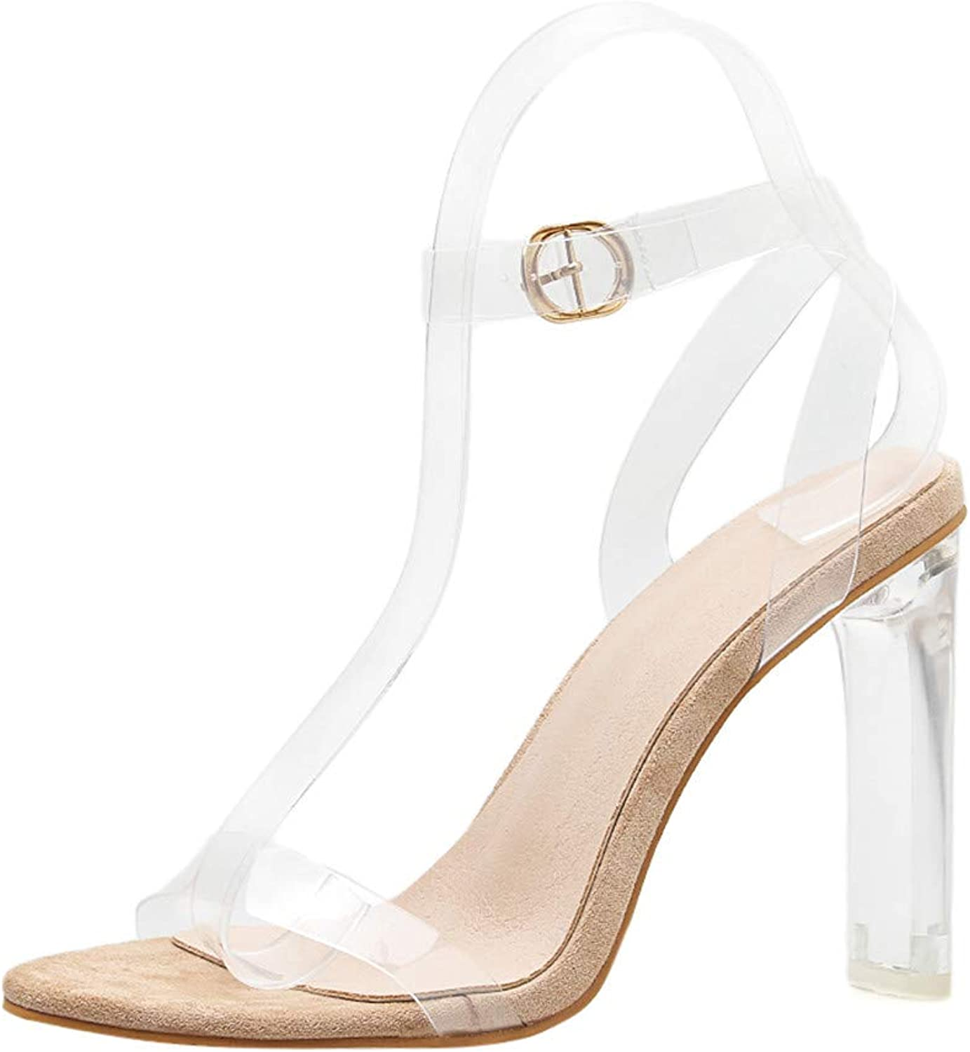 SUSENSTONE Women shoes High Heel Transparent High Heels Sandals