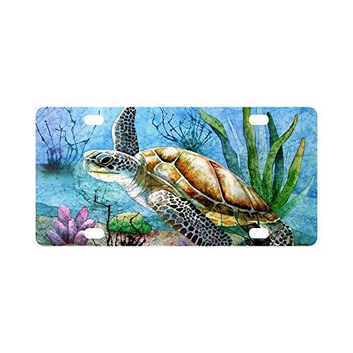Sea Turtle License Plate Meer Schildkröte Malen Aluminium-Auto Metall Nummernschild für Auto Vier Löcher Auto Tag 30,5x 15,2cm