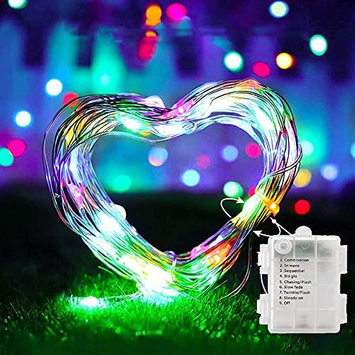 Catena di luci a LED, 50 LED con batteria, telecomando e timer 8 modalità con telecomando per Natale, matrimonio, festa, giardino e casa, multicolore