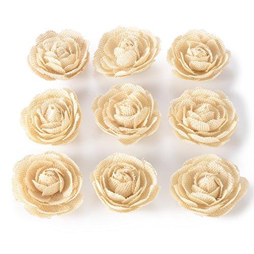 Advantez Hessian Jute Toile de jute Rose Fleurs pour noël décoration de fête Accessoires de cheveux Scrapbooking 9-Pack 3'