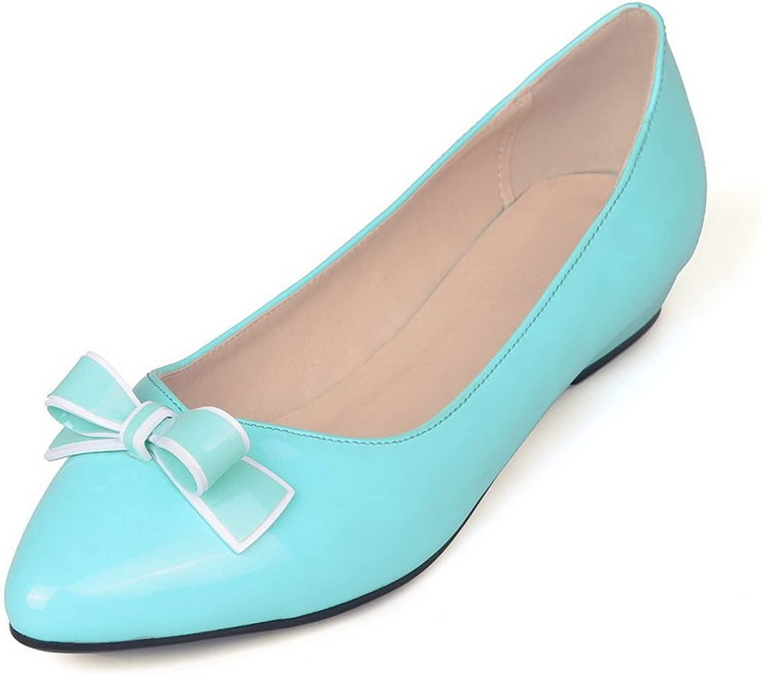 BalaMasa Womens Bows Low-Cut Uppers Pull-On Microfiber Pumps-shoes