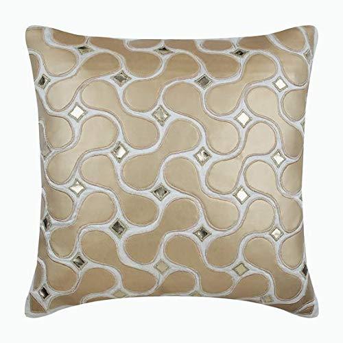Marfil fundas de cojines decorativos, cuero metalizado Resumen del tema El modelo geométrico fundas para cojines de sofa, 40x40 cm fundas de almohadones, seda fundas de cojines - Gold Space