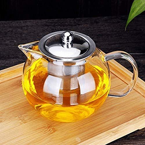 Tetera de vidrio duradera de acero inoxidable con filtro redondo de diversión resistente a altas temperaturas, tetera de manzana transparente de 1000 ml para té de hojas sueltas