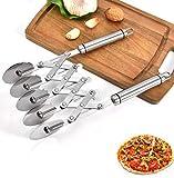 Tagliapasta Fatto da Acciaio Inossidabile Taglia Pizza, Acciaio Inossidabile, Pasticceria a 5 Ruot, per Pizza, Coltello da Pasticceria Multi-Rotondo