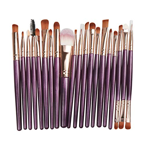 Makeup Brush Set, Professional Makeup 20Pcs Tools Premium Synthetic Foundation Powder Blush Shadow Brushes Concealers Eye Cosmetics Make Up Brushes Kit Beginner Full Set (Purple+gold)