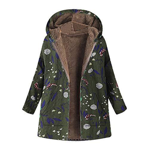 OverDose Damen Winterjacke Windjacke Mäntel Womens Warm Outwear Blumendruck Mit Kapuze Taschen Vintage Oversize Oberbekleidung Für Winter/Herbst(Armeegrün,EU-42/CN-XXL )