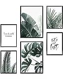 Heimlich Set di Stampe da Parete - Senza Cornici - Decorazioni da Muro per Soggiorno, Camera da Letto e Cucina - Poster Abbinati - 2 x A3 & 4 x A4-30x42 & 21x30   » Palme & Monstera «