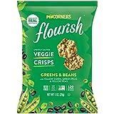 Popcorners Flourish Greens & Beans Veggie Crisps | Plant-Based Protein, Gluten Free Snacks | (24 Pack, 1 oz Snack Bags)