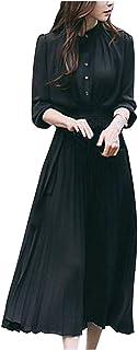 [ネコート] ベルト付きワンピース きれいめ 大人 オフィス クラシカル ロング丈 プリーツ レディース M〜2XL