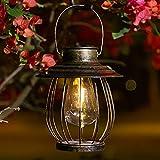 Solar Lanterns Outdoor Waterproof to Hanging -Decorative Retro Metal Waterproof Solar Lamp - Outdoor Decorative Lights for Garden Outdoor Pathway-with Sheep Hook