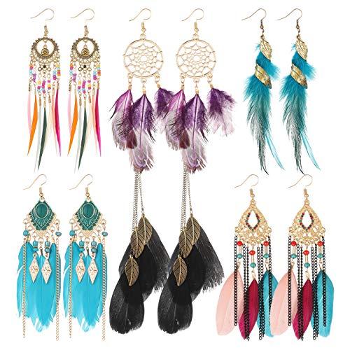 GOTH Perhk 6 Pairs Women Bohemian Fringe Earrings, Faux Feather Earrings Super Light Alloy Jewelry Pendant, Long Drop Dangle Earrings Set for Women Girls