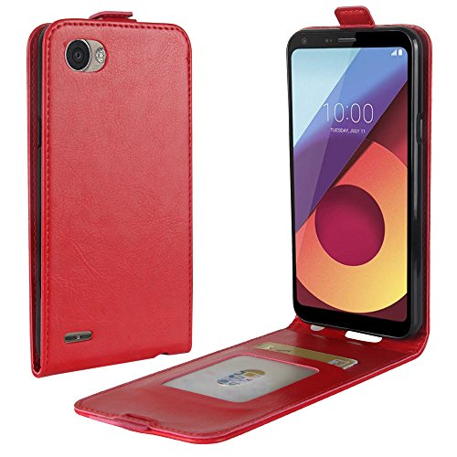 Zl One Compatível com/Substituição para Capa de telefone LG Q6 Plus Couro Poliuretano Proteção Cartão Compartimentos Capa carteira Capa flip (Vermelho)