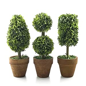 Tuokor Small Artificial Plants 8.25″ Plastic Fake Green Topiary Shrubs with Pot for Home Décor – Set of 3