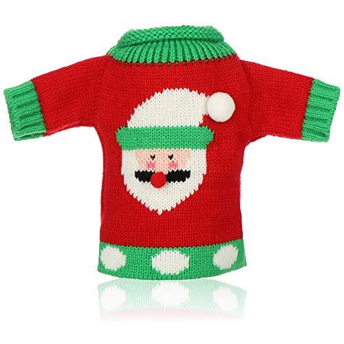 com-four® Funda para Botella de Vino - Jersey navideño con Motivo de Papá Noel - Decoración de Mesa navideña - Funda para Botella navideña (01 Pieza - Papá Noel)