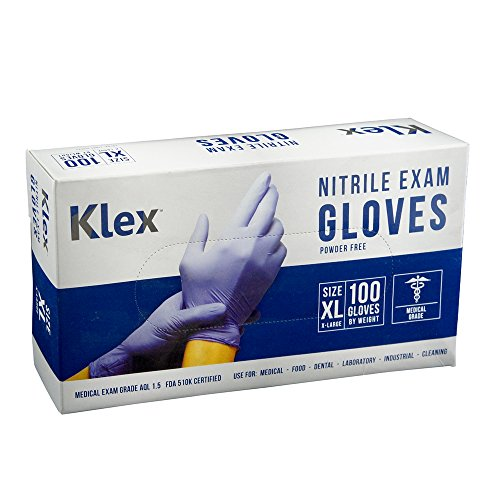 Klex Nitrile Exam Gloves - Medical Grade, Powder Free, Latex Rubber Free, Disposable, Food Safe, Lavender XL XLarge
