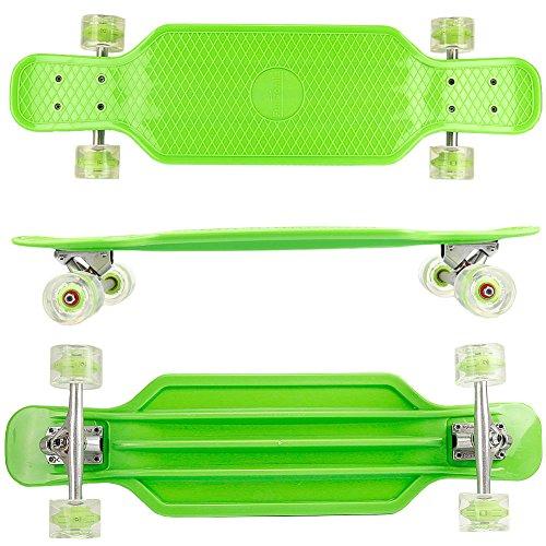 FunTomia Longboard aus Kunststoff BigBoard mit LED Rollen MACH1 Kugellager (Grün)