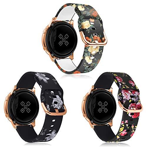 Syxinn Compatible con Galaxy Watch Active/Active2 40mm 44mm Correa de Reloj 20mm Silicona Banda de Reemplazo Pulsera para Galaxy Watch 42mm/Gear Sport/Gear S2 Classic/Ticwatch 2