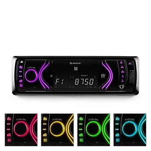 auna MD-130 - Autoradio, Radio mit Freisprecheinrichtung, 4x75 Watt max. Leistung, Bluetooth, 2-Band-Equalizer, USB, SD, AUX, UKW Radio, RDS, LCD-Display, Fernbedienung, schwarz