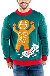 Funny Ugly Christmas Sweater Ideas Tipsy Elves Men's Gingerbread Man Roid Rage Christmas Sweater