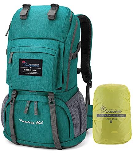 MOUNTAINTOP 40 litros Mochila de Senderismo, Impermeable Mochila Trekking al Aire Libre Mochilas de Montaña Viajes Acampadas con Cubierta de Lluvia(Verde)