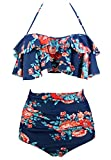 COCOSHIP Red Pink & Navy Blue Antigua Floral Retro Boho Flounce Falbala High Waist Bikini Set Chic Swimsuit Bathing Suit L(US8)