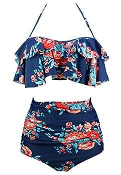 COCOSHIP Red Pink & Navy Blue Antigua Floral Retro Boho Flounce Falbala High Waist Bikini Set Chic Swimsuit Bathing Suit XXXXL FBA