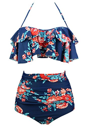 COCOSHIP Red Pink & Navy Blue Antigua Floral Retro Boho Flounce Falbala High Waist Bikini Set Chic Swimsuit Bathing Suit XXXL(FBA)